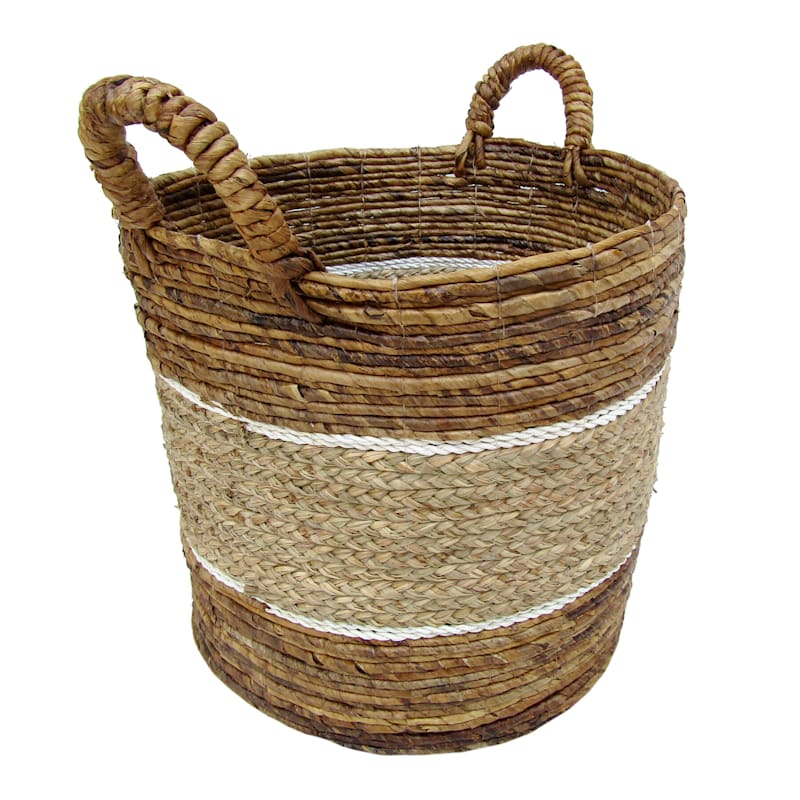 Banana Round Mix Color Natural/White Stripes Large Basket