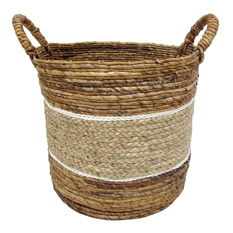 Banana Round Mix Color Natural/White Stripes Medium Basket