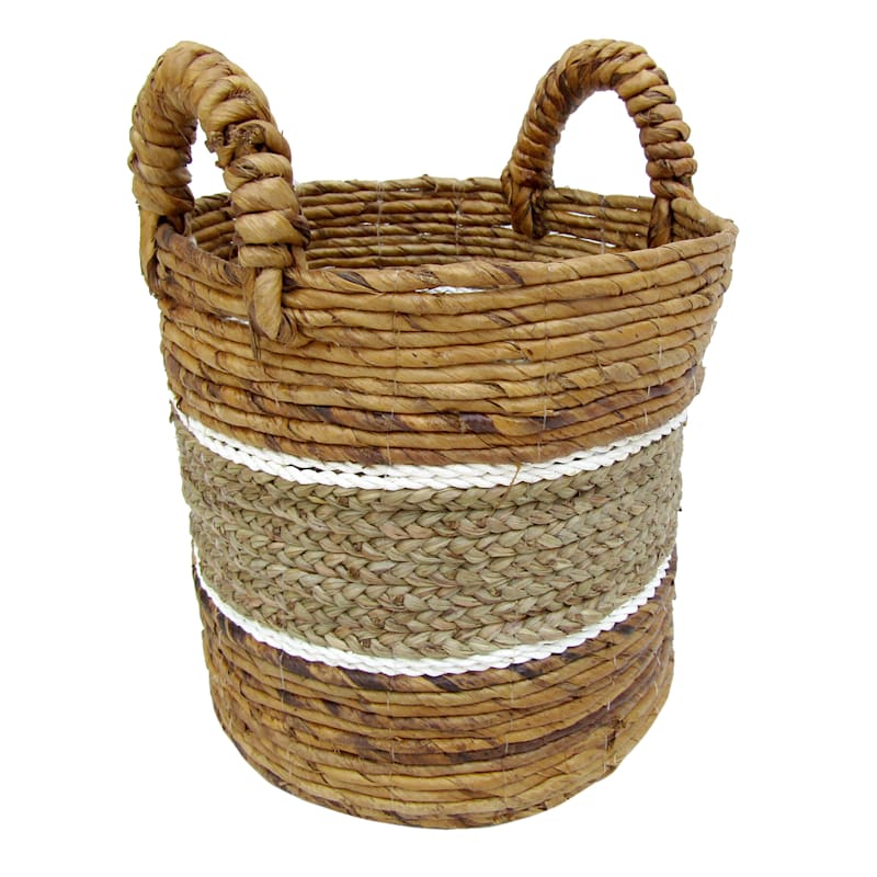 Banana Round Mix Color Natural/White Stripes Small Basket
