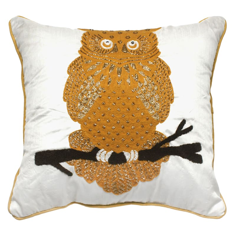 Owl Embroidered And Beaded Pillow 18X18