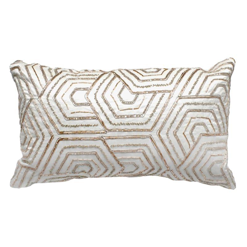 Geometric Pattern Beaded Pillow 12X20