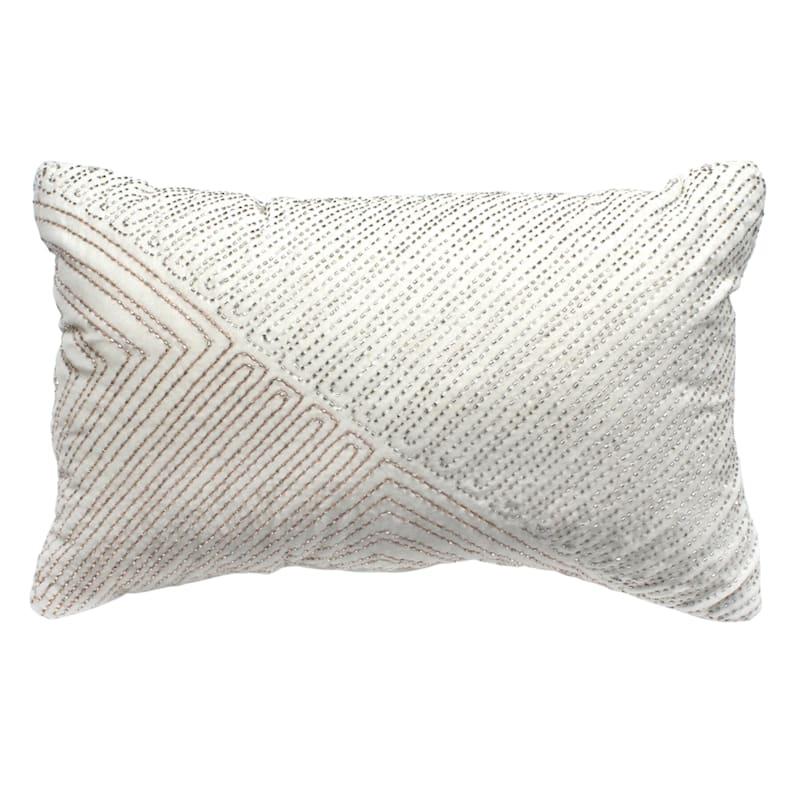 Cotton Velvet Pillow With Beads 12X20