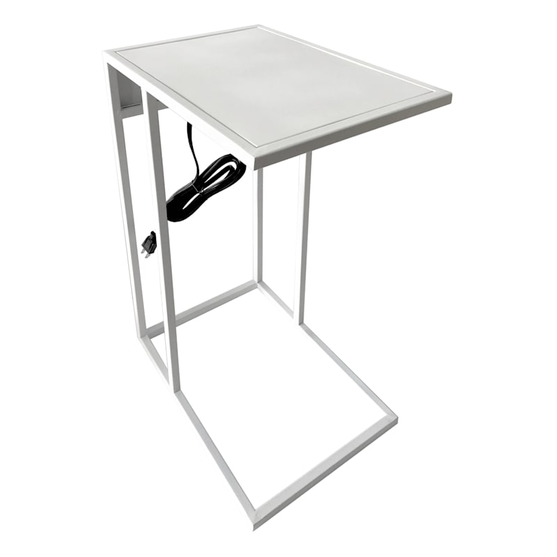 Metal C Table With USB Port White