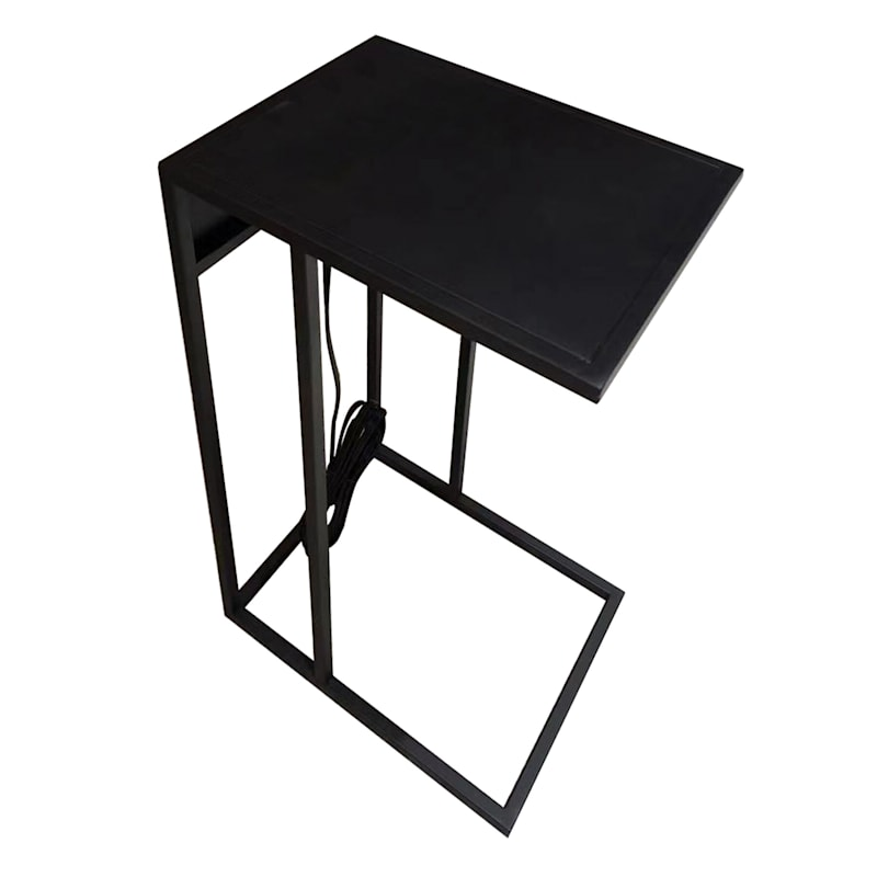 Metal C Table With USB Port Black