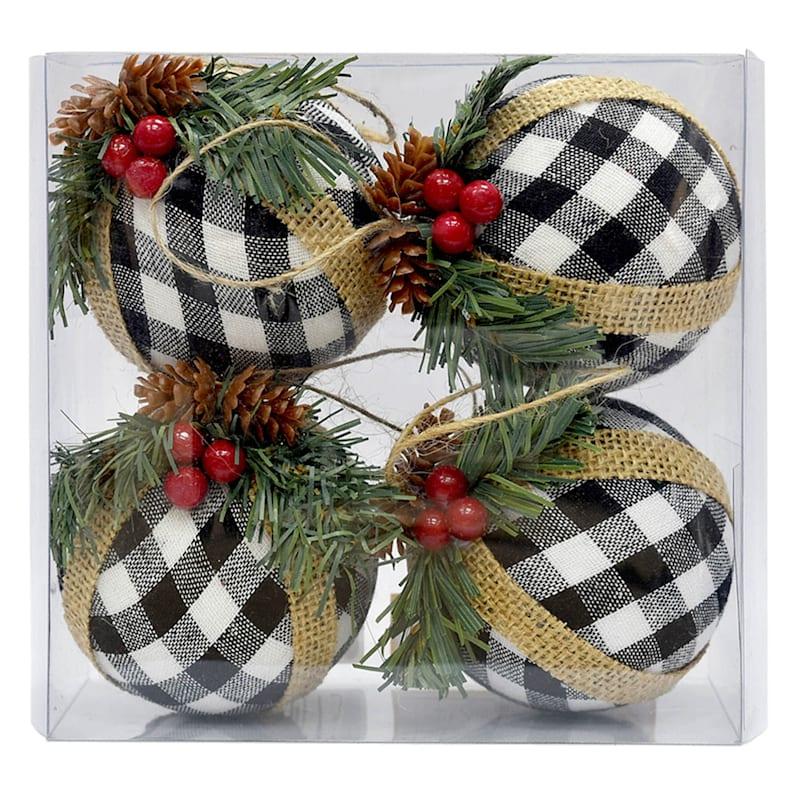 4-Count Plaid Black & White Shatterproof Ornaments