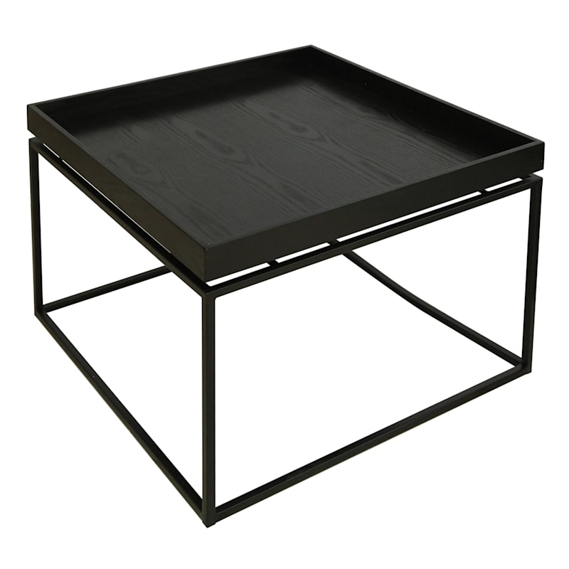 Wood Tray Top Coffee Table With Metal Base Black, Small