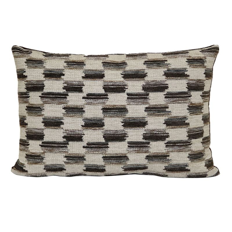 Art Class Modern Geometric Walnut Chenille Jacquard Oblong Pillow 14x20 At Home