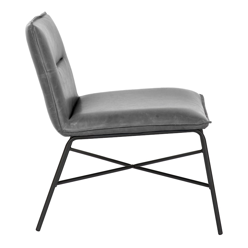 Zoey Black Faux Leather Armless Accent Chair