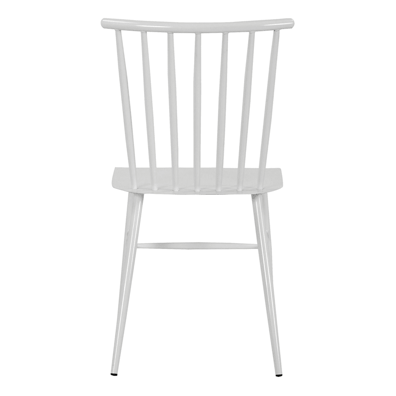 White Spindle Metal Dining Chair
