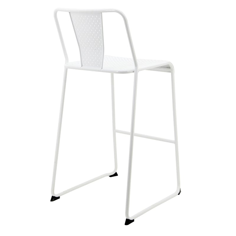 Cami White Metal Stackable Barstool