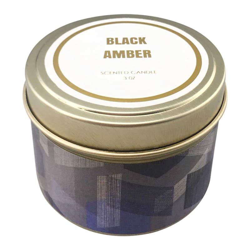 3oz Black Amber Candle Tin