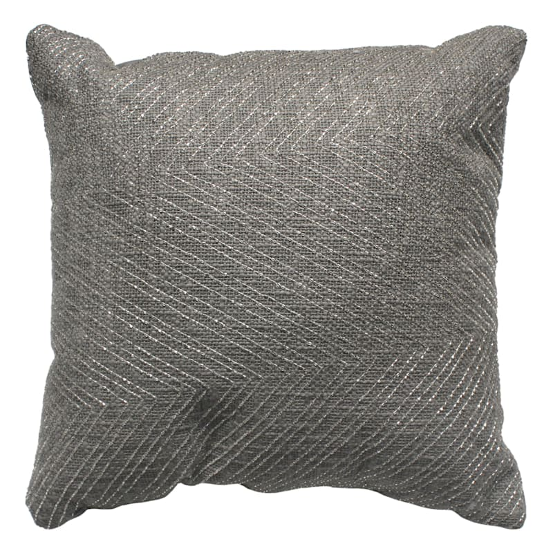 Textured Cotton Pillow With Beads 18X18