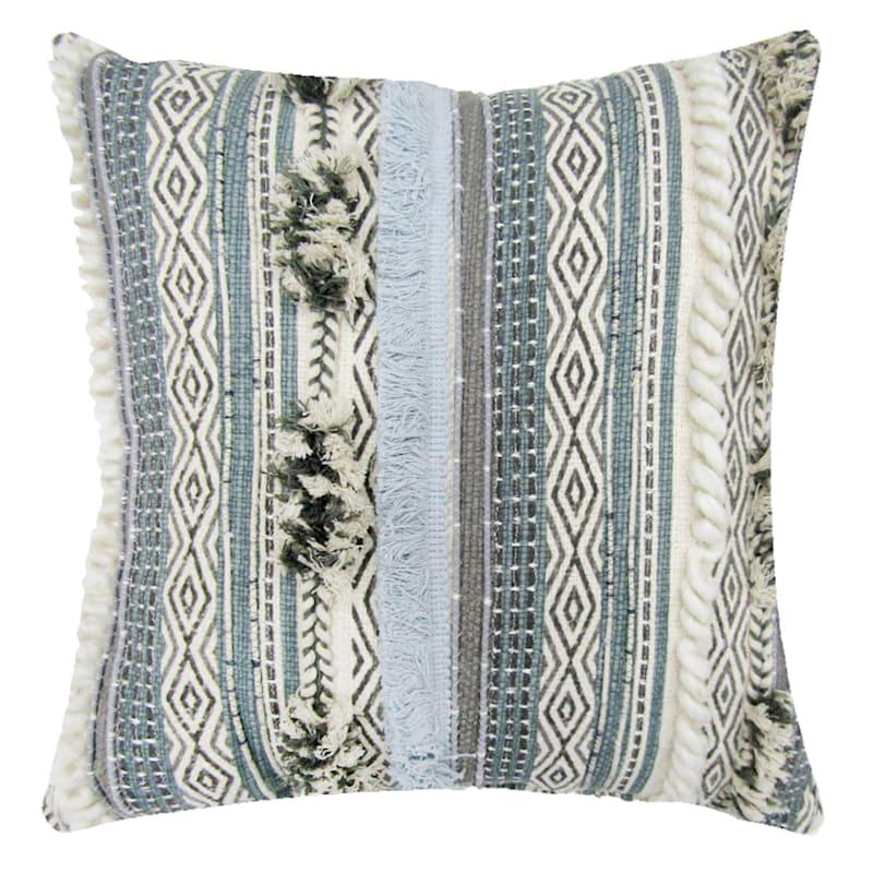Multi Embroidered Stripe Tuft Pillow 18X18