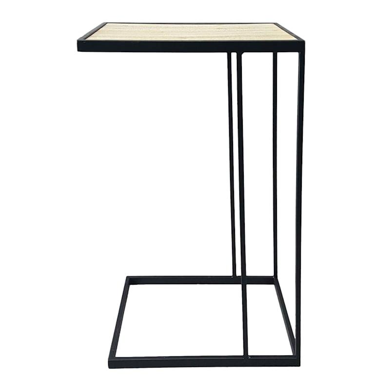 Metal C Table With Wood Top Black