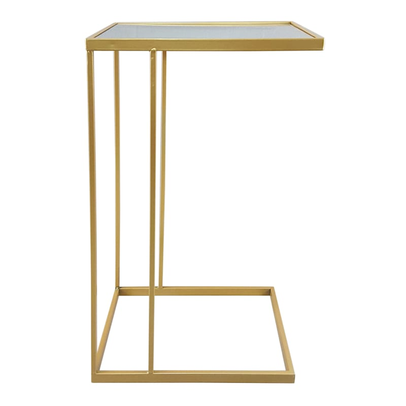 Metal C Table With Mirror Top Gold