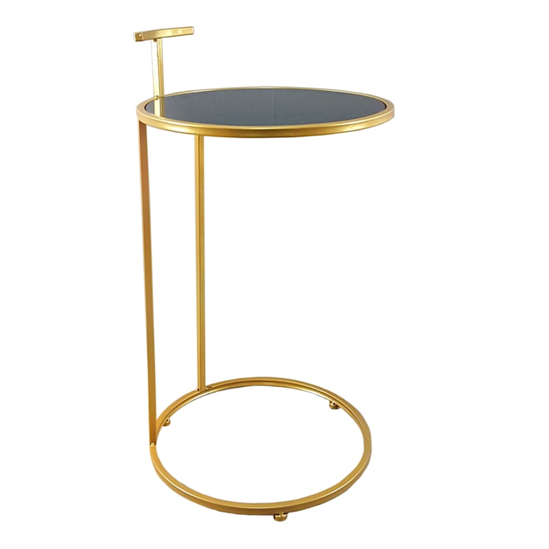 Round Metal C Table With Black Glass Top Gold