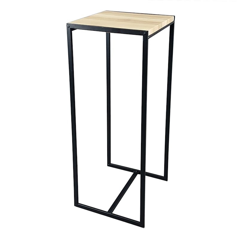 Metal Plant Stand With Wood Top Black, Small