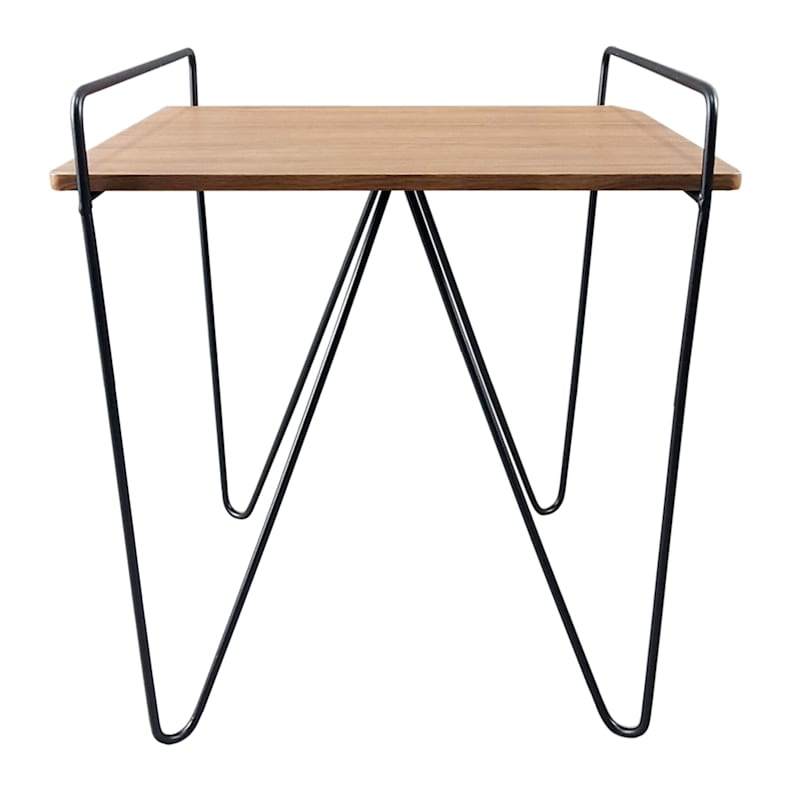 Wood Top Table With Black Solid Iron Leg