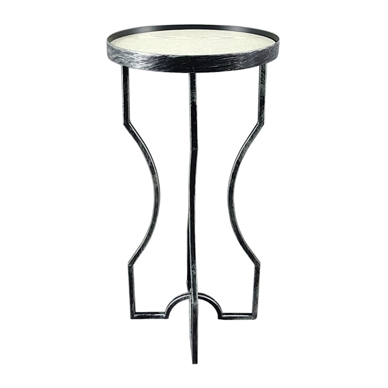 Metal Plant Stand With Wood Top Silver