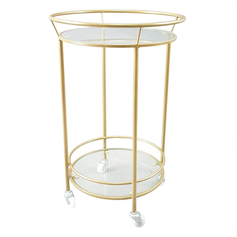 Gold Metal Bar Cart With 2 Tier Tempered Glass