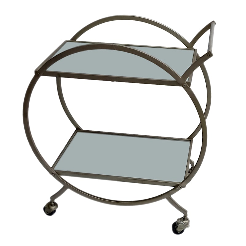 Grace Mitchell Gold Circle Mirrored Bar Cart