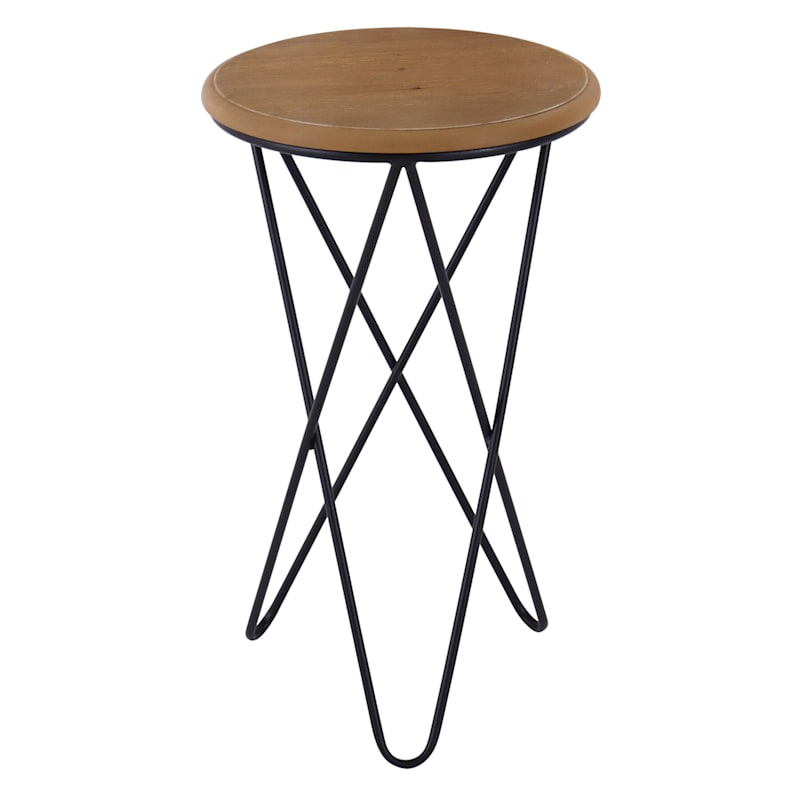 Round Wood Top Accent Table With Metal Hairpin Legs