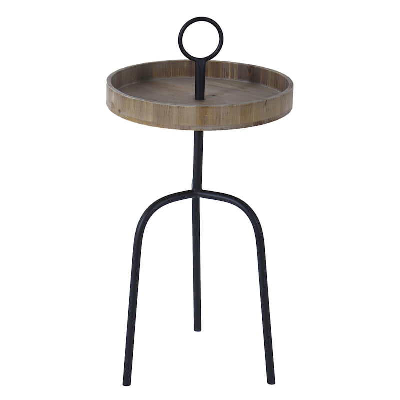 Natural Wood Top Accent Table With Curved Black Metal Legs