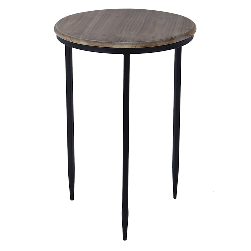 Round Wood Top Accent Table With Black Metal Legs