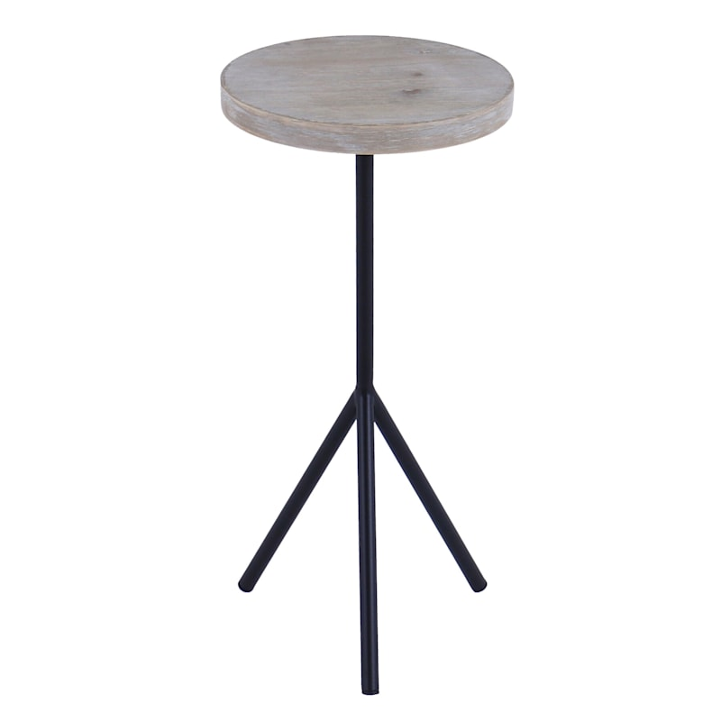 Round Wood Top Accent Table With Metal Footed Base