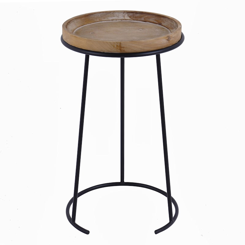 Round Wood Top Accent Table And Metal C Shape Base