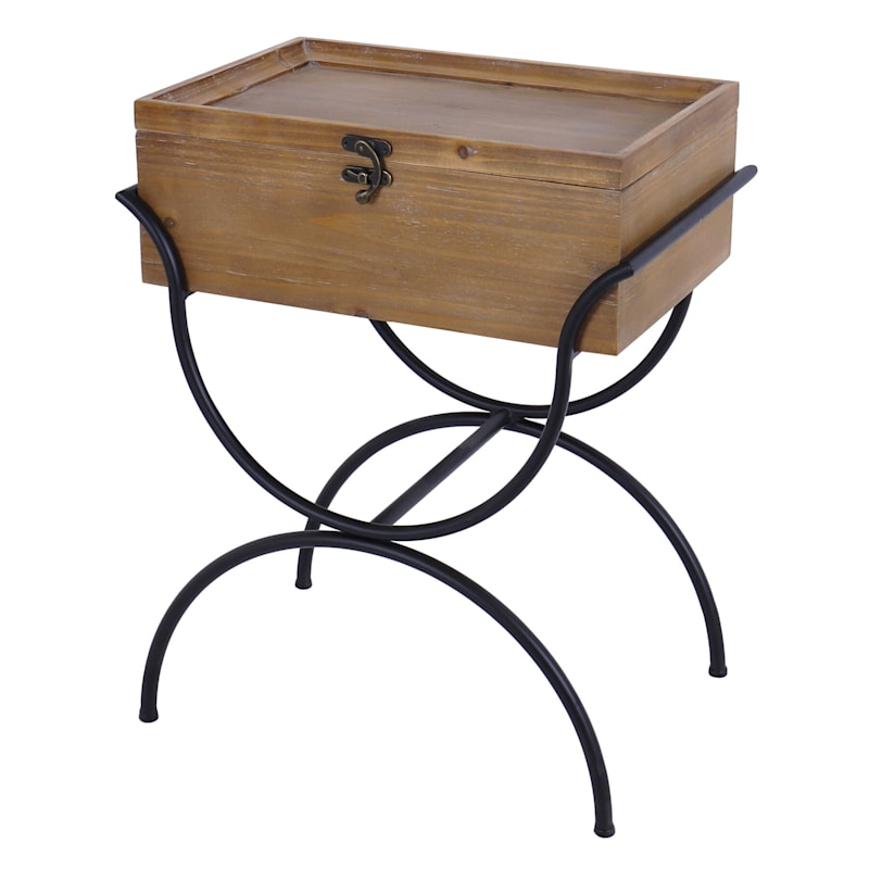 Wood Storage Box Table With Black Metal Base