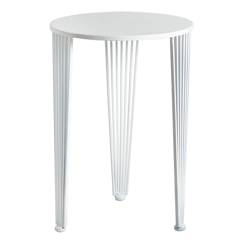 Round White Metal Accent Table With Wire Legs, Large