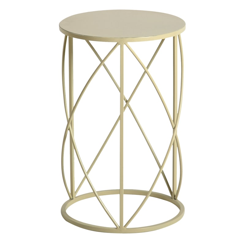 Metal Drum Accent Table Neutral, Small
