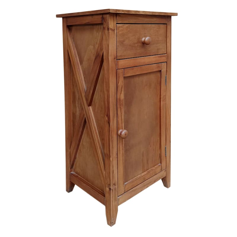 Brown One Drawer X-Side Table