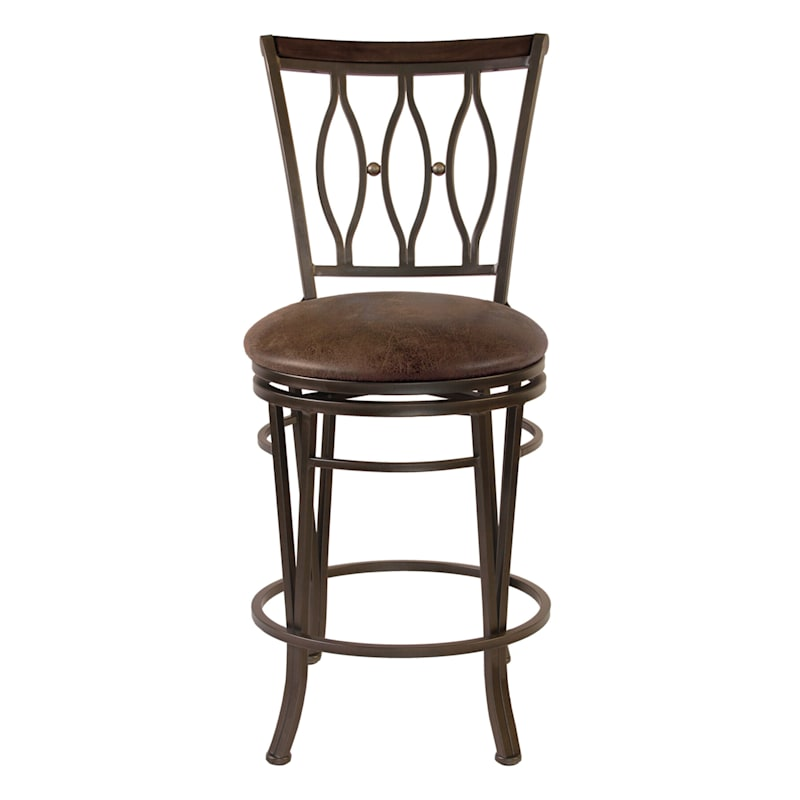 """Marsol Brown Metal Counter Stool with Faux Leather Upholstered Seat, 24"""""""