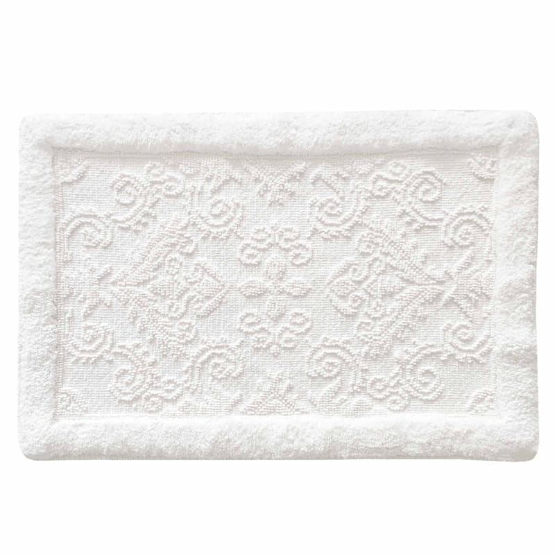 Damask White Bloom Bath Rug 20X30