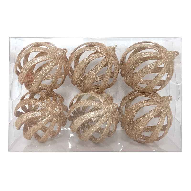 6-Count Gold Glitter Cut Out Shatterproof Ornaments