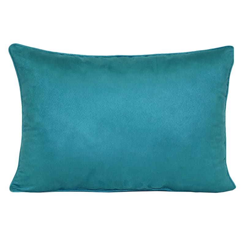 Heavy Suede Oblong Toss Pillow, Turquoise