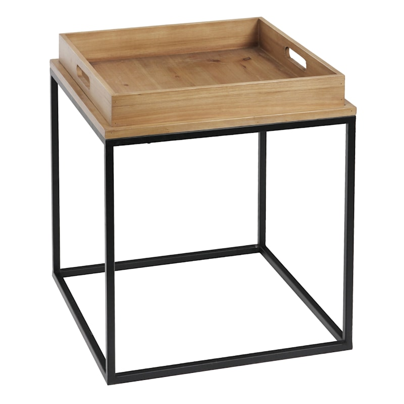 Square Wood Tray Top Side Table With Metal Base
