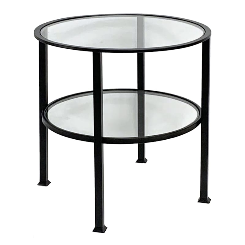 2 Tier Glass Shelf Accent Table With Metal Base