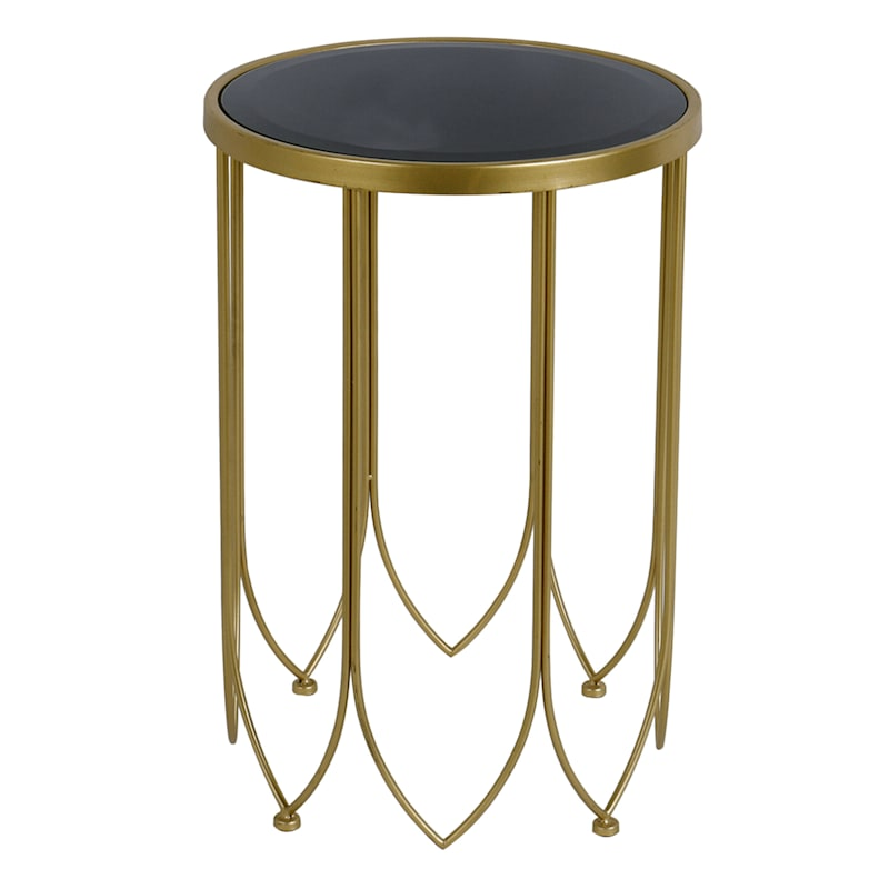 Mirror Top Accent Table With Gold Metal Base, Small Black