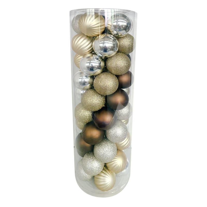 50-Count Golden Nature Shatterproof Ornaments