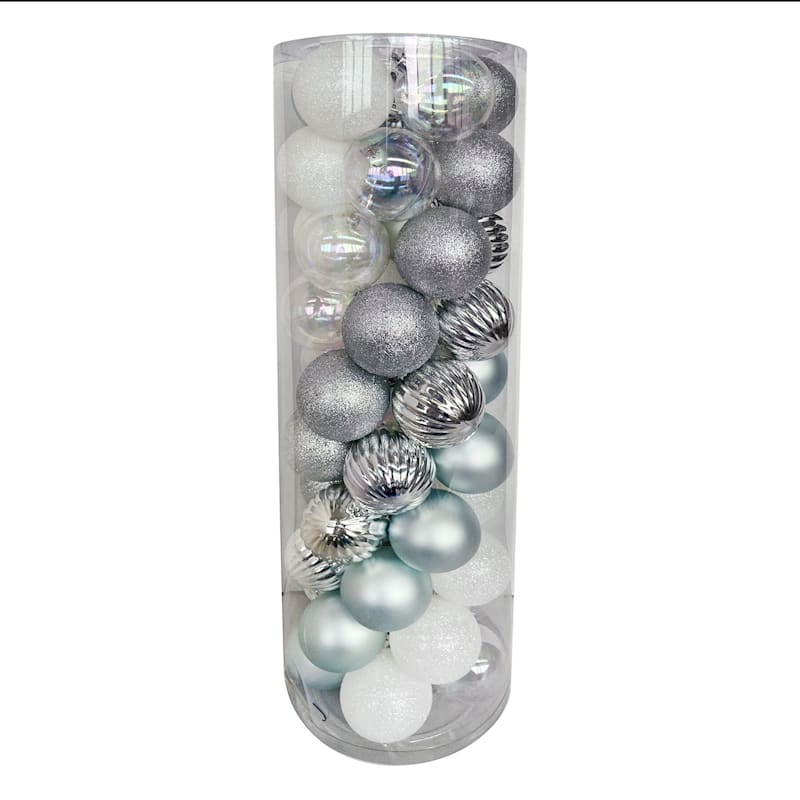 50-Count Silver, Clear & Blue Shatterproof Ornaments