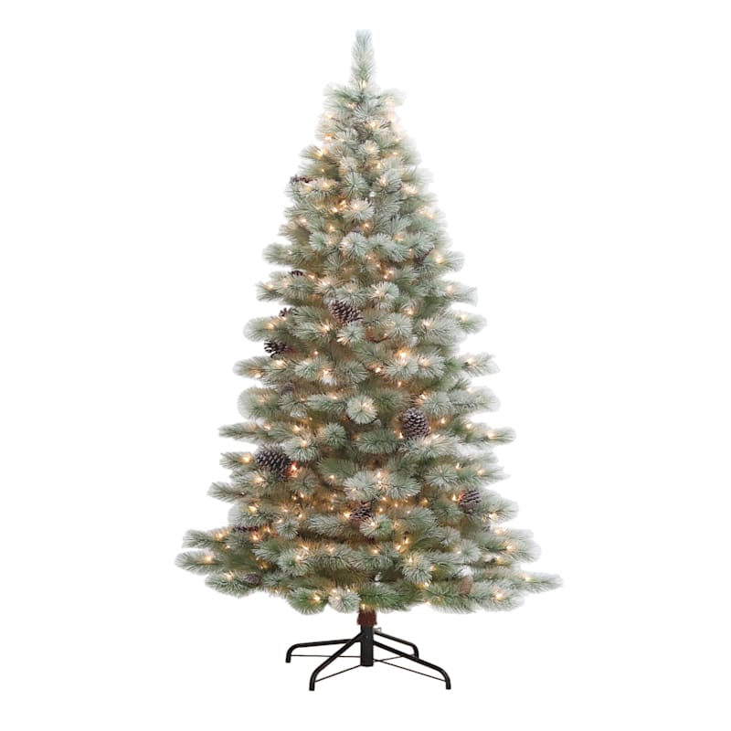 (Fl8) 7' Pre-Lit Frosted Pine Christmas Tree with 400 Lights