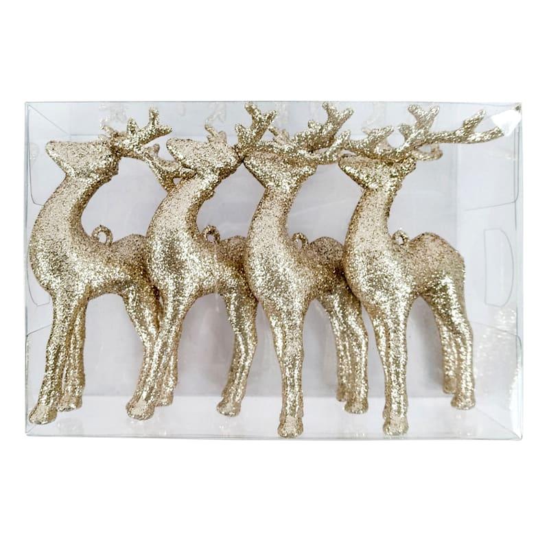 4-Count Gold Glitter Shatterproof Deer Ornaments