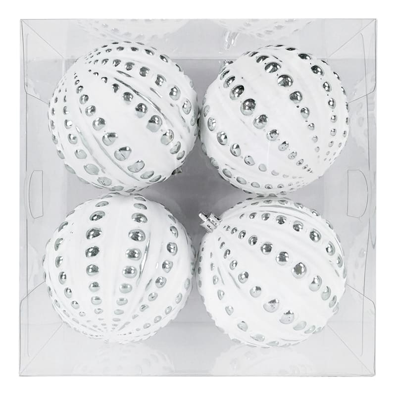 4-Count White Dotted Shatterproof Ornaments