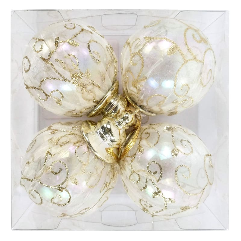 4-Count Gold Shatterproof Ornaments
