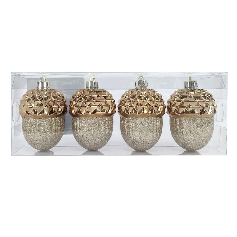 4-Count Copper Acorn Shatterproof Ornaments