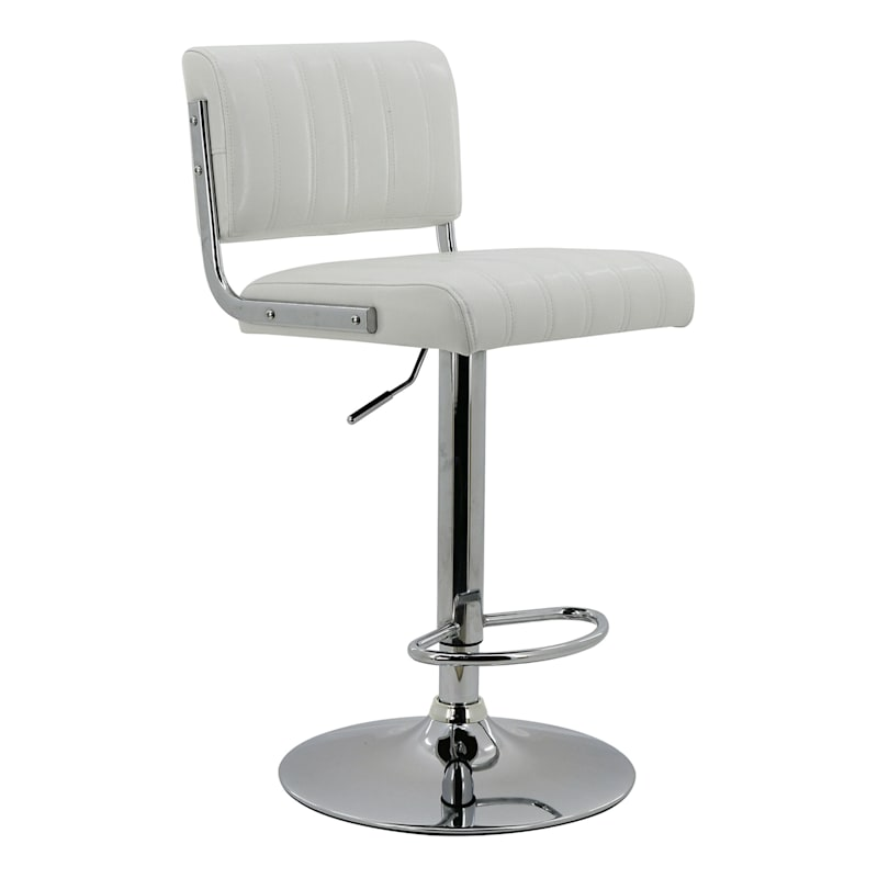 Warren White Faux Leather Adjustable Barstool