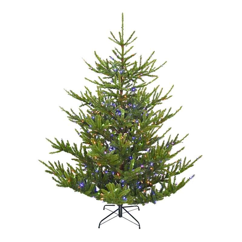 (C36) 7.5' Pre-Lit Upswept Fir Christmas Tree with 490 Multicolored Lights